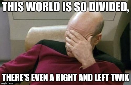 Captain Picard Facepalm Meme | THIS WORLD IS SO DIVIDED, THERE'S EVEN A RIGHT AND LEFT TWIX | image tagged in memes,captain picard facepalm | made w/ Imgflip meme maker
