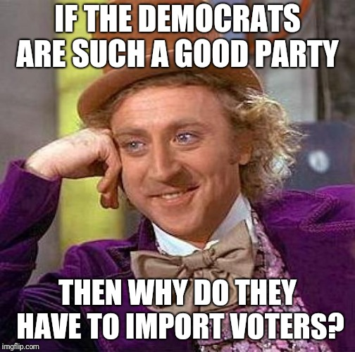 Creepy Condescending Wonka Meme | IF THE DEMOCRATS ARE SUCH A GOOD PARTY THEN WHY DO THEY HAVE TO IMPORT VOTERS? | image tagged in memes,creepy condescending wonka | made w/ Imgflip meme maker