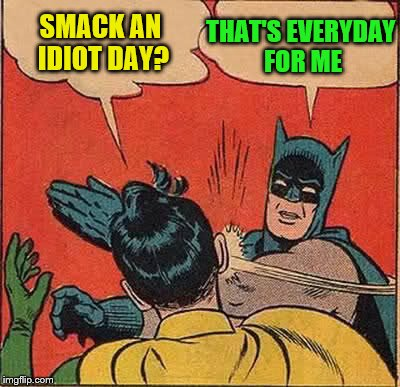 Batman Slapping Robin Meme | SMACK AN IDIOT DAY? THAT'S EVERYDAY FOR ME | image tagged in memes,batman slapping robin | made w/ Imgflip meme maker