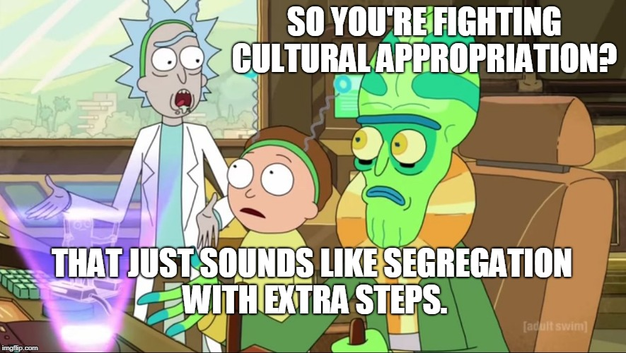 Somebody tell the SJW and BLM activists  | SO YOU'RE FIGHTING CULTURAL APPROPRIATION? THAT JUST SOUNDS LIKE SEGREGATION WITH EXTRA STEPS. | image tagged in cultural appropriation,sjw,blm,segregation,memes,rick and morty-extra steps | made w/ Imgflip meme maker
