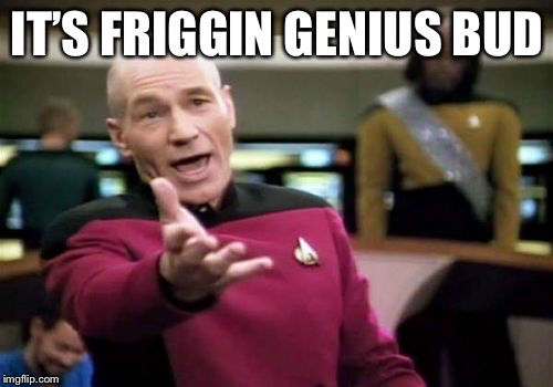 Picard Wtf Meme | IT'S FRIGGIN GENIUS BUD | image tagged in memes,picard wtf | made w/ Imgflip meme maker