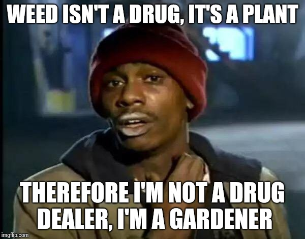 Weed meme | WEED ISN'T A DRUG, IT'S A PLANT THEREFORE I'M NOT A DRUG DEALER, I'M A GARDENER | image tagged in memes,y'all got any more of that | made w/ Imgflip meme maker
