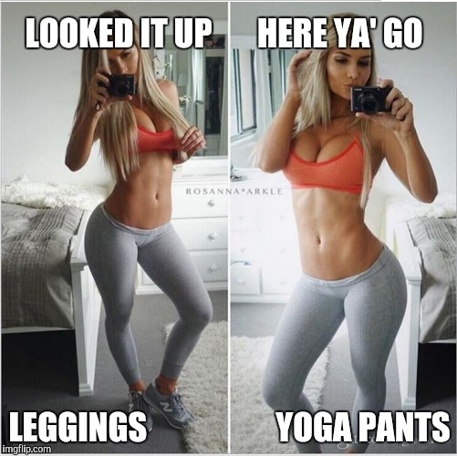 LOOKED IT UP       HERE YA' GO LEGGINGS                    YOGA PANTS | made w/ Imgflip meme maker