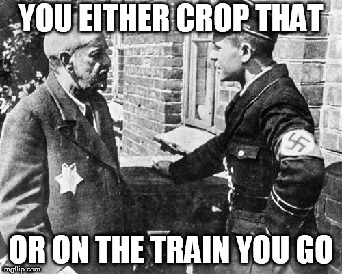 Nazi speaking to Jew | YOU EITHER CROP THAT OR ON THE TRAIN YOU GO | image tagged in nazi speaking to jew | made w/ Imgflip meme maker