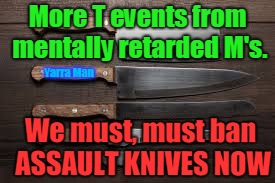 More T events from mentally retarded M's. We must, must ban ASSAULT KNIVES NOW Yarra Man | image tagged in ban assault knives | made w/ Imgflip meme maker