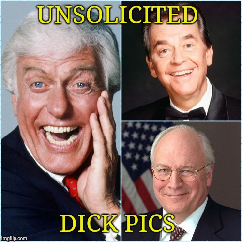 You gals enjoy | UNSOLICITED DICK PICS | image tagged in dick cheney,dick van dyke,dick clark,picture,dick pic | made w/ Imgflip meme maker