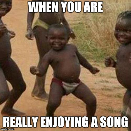 Third World Success Kid Meme | WHEN YOU ARE REALLY ENJOYING A SONG | image tagged in memes,third world success kid | made w/ Imgflip meme maker