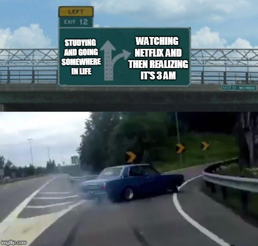 Left Exit 12 Off Ramp Meme | STUDYING AND GOING SOMEWHERE IN LIFE WATCHING NETFLIX AND THEN REALIZING IT'S 3 AM | image tagged in memes,left exit 12 off ramp | made w/ Imgflip meme maker