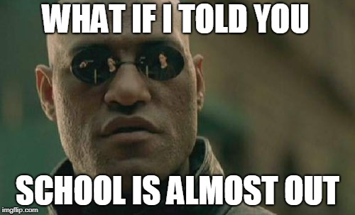 Matrix Morpheus Meme | WHAT IF I TOLD YOU SCHOOL IS ALMOST OUT | image tagged in memes,matrix morpheus | made w/ Imgflip meme maker
