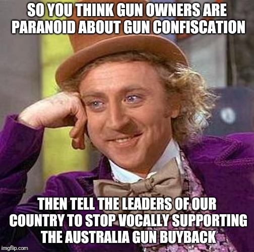 wonka gun control | SO YOU THINK GUN OWNERS ARE PARANOID ABOUT GUN CONFISCATION THEN TELL THE LEADERS OF OUR COUNTRY TO STOP VOCALLY SUPPORTING THE AUSTRALIA GU | image tagged in memes,creepy condescending wonka | made w/ Imgflip meme maker