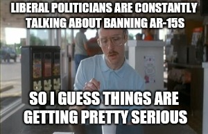 napolean gun ban | LIBERAL POLITICIANS ARE CONSTANTLY TALKING ABOUT BANNING AR-15S SO I GUESS THINGS ARE GETTING PRETTY SERIOUS | image tagged in memes,so i guess you can say things are getting pretty serious | made w/ Imgflip meme maker