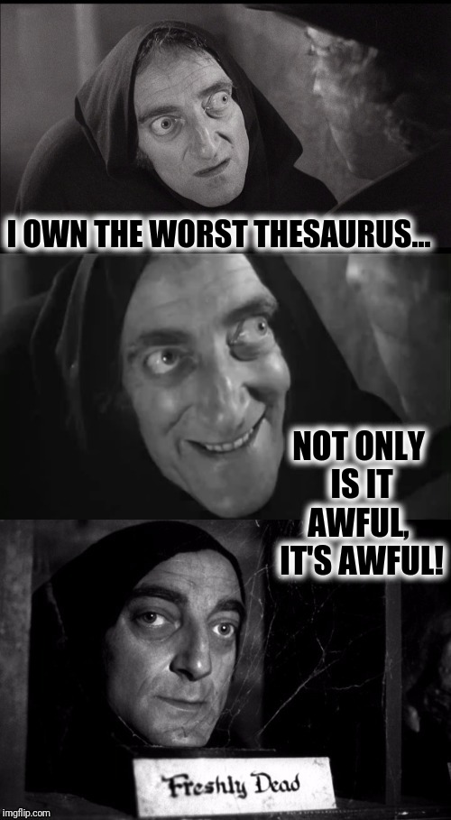 What's another name for thesaurus?-Stephan Wright | I OWN THE WORST THESAURUS... NOT ONLY IS IT AWFUL,  IT'S AWFUL! | image tagged in freshly dead | made w/ Imgflip meme maker