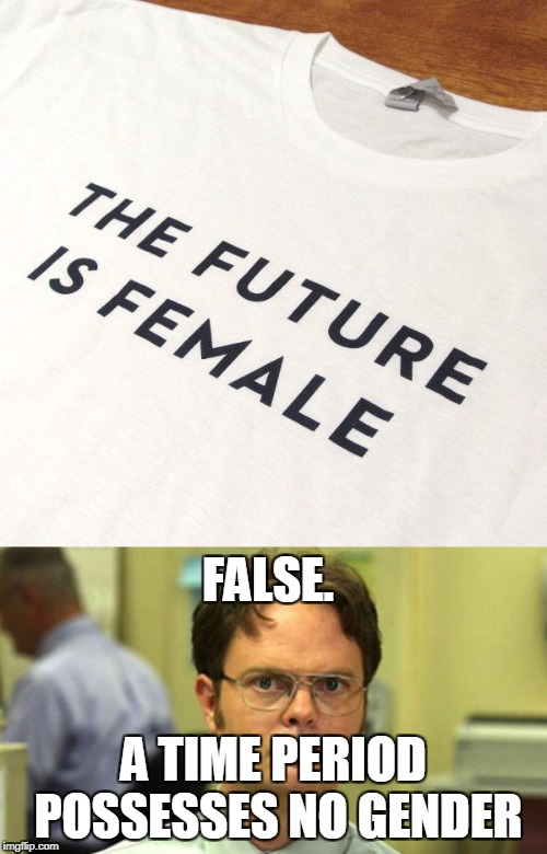 False! | FALSE. A TIME PERIOD POSSESSES NO GENDER | image tagged in memes,funny,dwight schrute,false,dwight | made w/ Imgflip meme maker