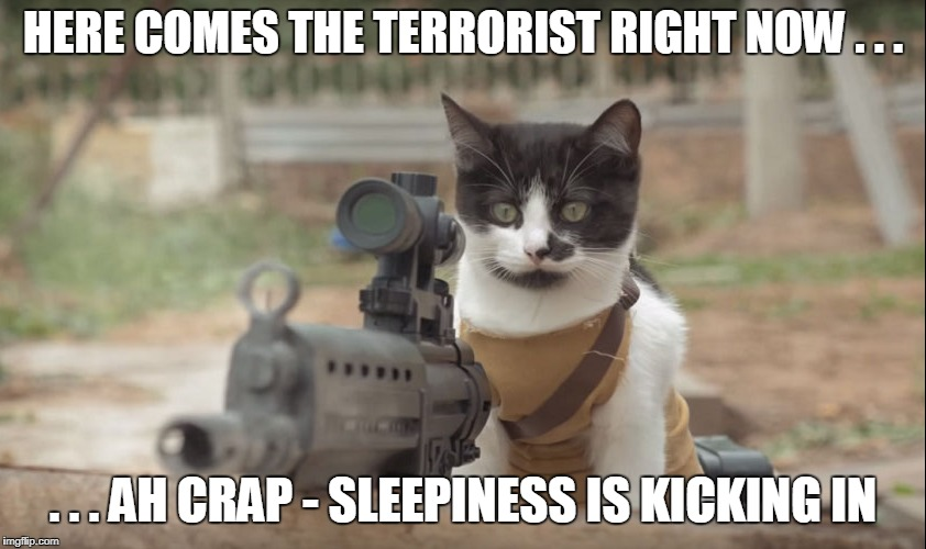 HERE COMES THE TERRORIST RIGHT NOW . . . . . . AH CRAP - SLEEPINESS IS KICKING IN | made w/ Imgflip meme maker