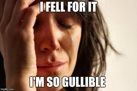 First World Problems Meme | I FELL FOR IT I'M SO GULLIBLE | image tagged in memes,first world problems | made w/ Imgflip meme maker