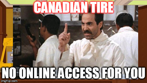 No access | CANADIAN TIRE NO ONLINE ACCESS FOR YOU | image tagged in canadian,tire | made w/ Imgflip meme maker