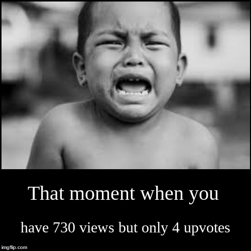 That moment when you | have 730 views but only 4 upvotes | image tagged in funny,demotivationals | made w/ Imgflip demotivational maker