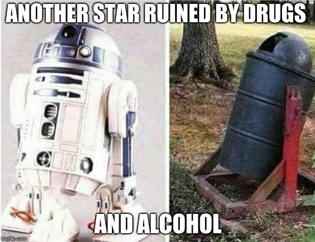 Don't Do Drugs | ANOTHER STAR RUINED BY DRUGS AND ALCOHOL | image tagged in don't do drugs | made w/ Imgflip meme maker