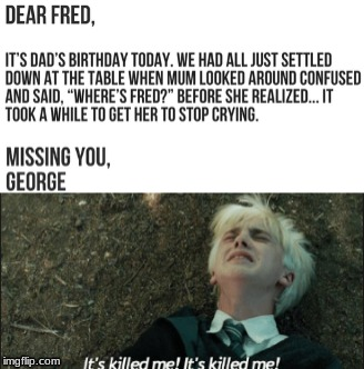 image tagged in draco malfoy,fred weasley,george weasley,harry potter | made w/ Imgflip meme maker