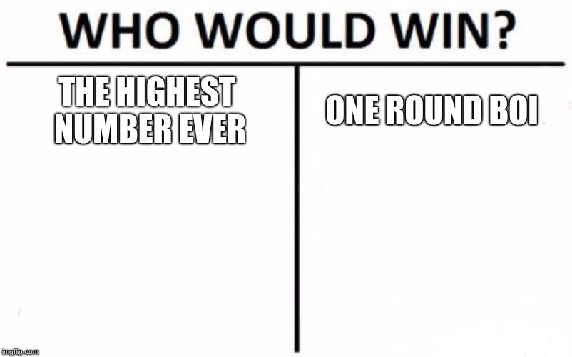 Who Would Win? Meme | THE HIGHEST NUMBER EVER ONE ROUND BOI | image tagged in memes,who would win | made w/ Imgflip meme maker