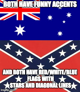 BOTH HAVE FUNNY ACCENTS AND BOTH HAVE RED/WHITE/BLUE FLAGS WITH STARS AND DIAGONAL LINES | made w/ Imgflip meme maker