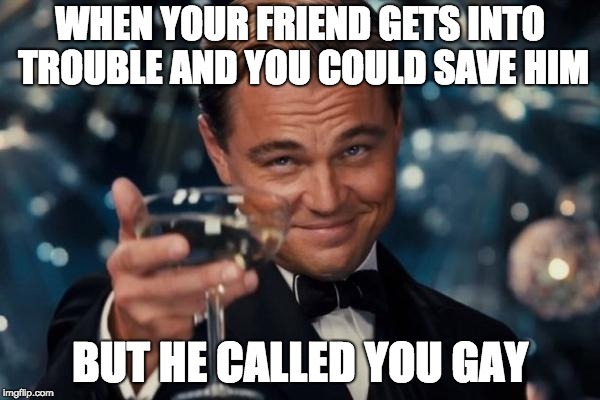 Leonardo Dicaprio Cheers Meme | WHEN YOUR FRIEND GETS INTO TROUBLE AND YOU COULD SAVE HIM BUT HE CALLED YOU GAY | image tagged in memes,leonardo dicaprio cheers | made w/ Imgflip meme maker