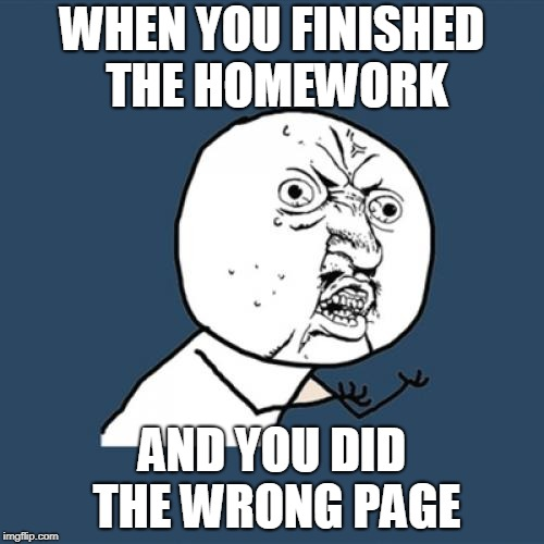 Y U No Meme | WHEN YOU FINISHED THE HOMEWORK AND YOU DID THE WRONG PAGE | image tagged in memes,y u no | made w/ Imgflip meme maker