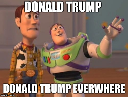X, X Everywhere Meme | DONALD TRUMP DONALD TRUMP EVERWHERE | image tagged in memes,x x everywhere | made w/ Imgflip meme maker