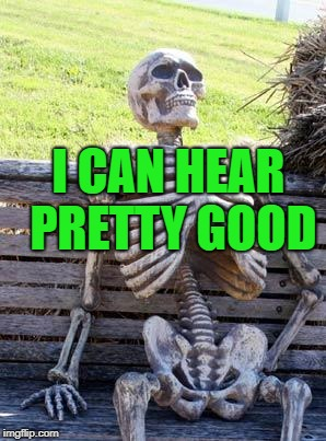 Waiting Skeleton Meme | I CAN HEAR PRETTY GOOD | image tagged in memes,waiting skeleton | made w/ Imgflip meme maker