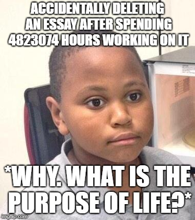Minor Mistake Marvin | ACCIDENTALLY DELETING AN ESSAY AFTER SPENDING 4823074 HOURS WORKING ON IT *WHY. WHAT IS THE PURPOSE OF LIFE?* | image tagged in memes,minor mistake marvin | made w/ Imgflip meme maker