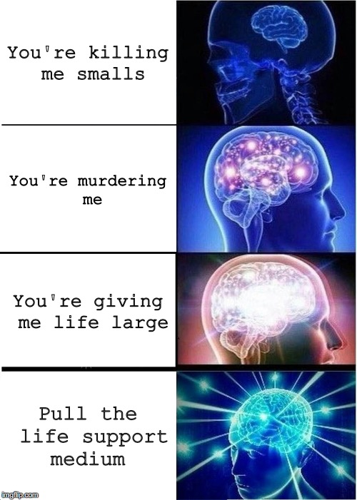 Expanding Brain Meme | You're killing me smalls You're murdering me You're giving me life large Pull the life support medium | image tagged in memes,expanding brain | made w/ Imgflip meme maker