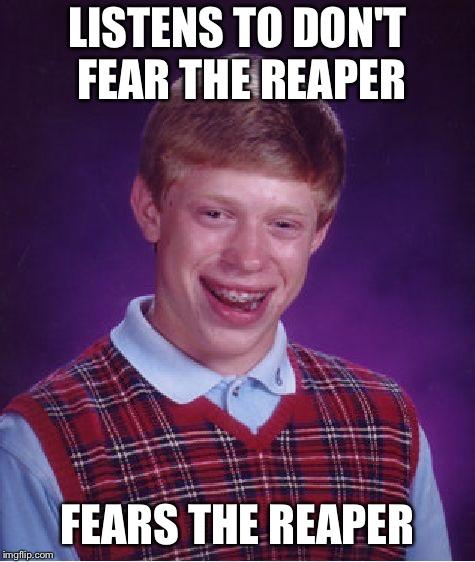 Bad Luck Brian Meme | LISTENS TO DON'T FEAR THE REAPER FEARS THE REAPER | image tagged in memes,bad luck brian | made w/ Imgflip meme maker