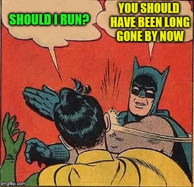 Batman Slapping Robin Meme | SHOULD I RUN? YOU SHOULD HAVE BEEN LONG GONE BY NOW | image tagged in memes,batman slapping robin | made w/ Imgflip meme maker
