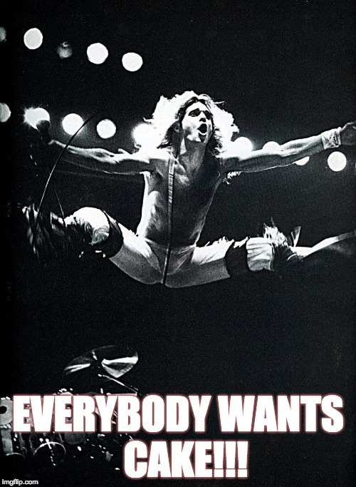 EVERYBODY WANTS  CAKE!!! | image tagged in vanhalen-jump | made w/ Imgflip meme maker