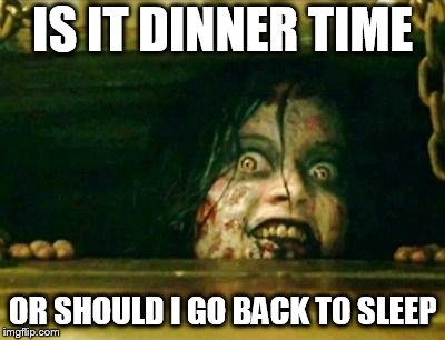Evil Dead Girl | IS IT DINNER TIME OR SHOULD I GO BACK TO SLEEP | image tagged in evil dead girl | made w/ Imgflip meme maker