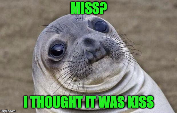 Awkward Moment Sealion Meme | MISS? I THOUGHT IT WAS KISS | image tagged in memes,awkward moment sealion | made w/ Imgflip meme maker