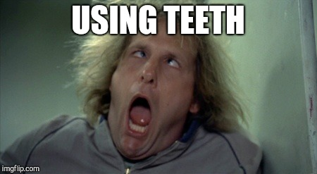 Scary Harry Meme | USING TEETH | image tagged in memes,scary harry | made w/ Imgflip meme maker
