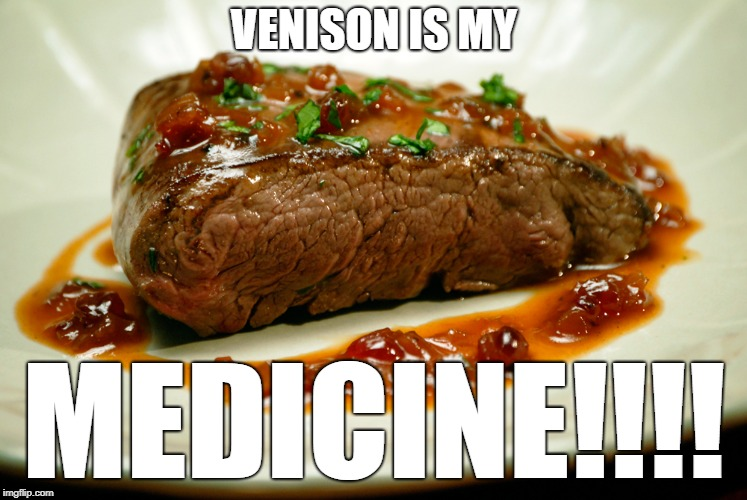 Venison is my medicine | VENISON IS MY MEDICINE!!!! | image tagged in meat | made w/ Imgflip meme maker