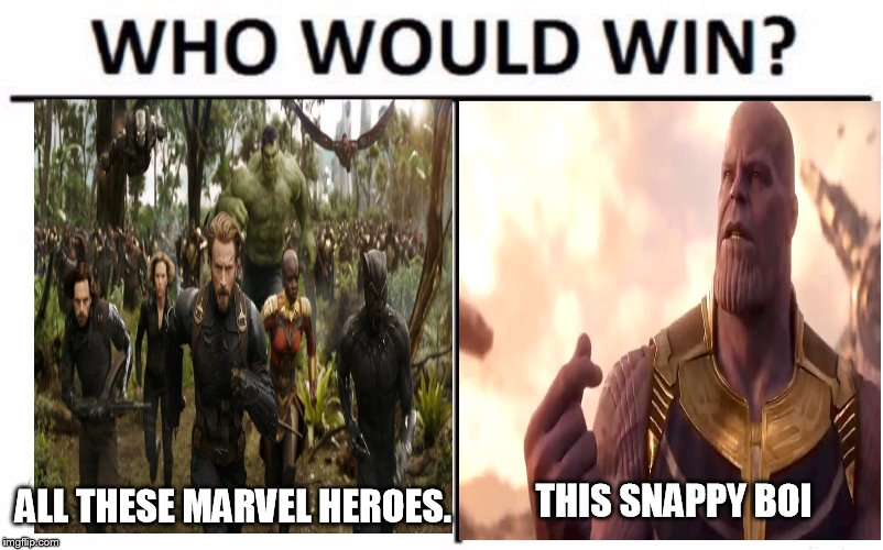 Who Would Win? Meme | ALL THESE MARVEL HEROES. THIS SNAPPY BOI | image tagged in memes,who would win | made w/ Imgflip meme maker