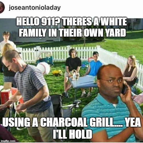HELLO 911? THERES A WHITE FAMILY IN THEIR OWN YARD USING A CHARCOAL GRILL.... YEA I'LL HOLD | image tagged in r kelly | made w/ Imgflip meme maker