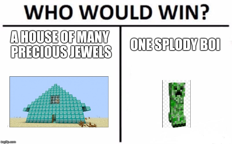 Who Would Win? Meme | A HOUSE OF MANY PRECIOUS JEWELS ONE SPLODY BOI | image tagged in memes,who would win | made w/ Imgflip meme maker