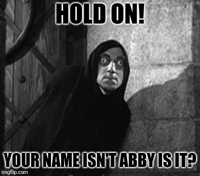 HOLD ON! YOUR NAME ISN'T ABBY IS IT? | made w/ Imgflip meme maker