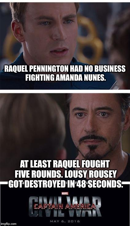 Raquel Pennington vs Ronda Rousey | RAQUEL PENNINGTON HAD NO BUSINESS FIGHTING AMANDA NUNES. AT LEAST RAQUEL FOUGHT FIVE ROUNDS. LOUSY ROUSEY GOT DESTROYED IN 48 SECONDS. | image tagged in memes,marvel civil war 1,ronda rousey,amanda nunes,fight,raquel | made w/ Imgflip meme maker