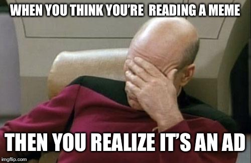 Ads can be pretty annoying | WHEN YOU THINK YOU'RE  READING A MEME THEN YOU REALIZE IT'S AN AD | image tagged in memes,captain picard facepalm,ads | made w/ Imgflip meme maker
