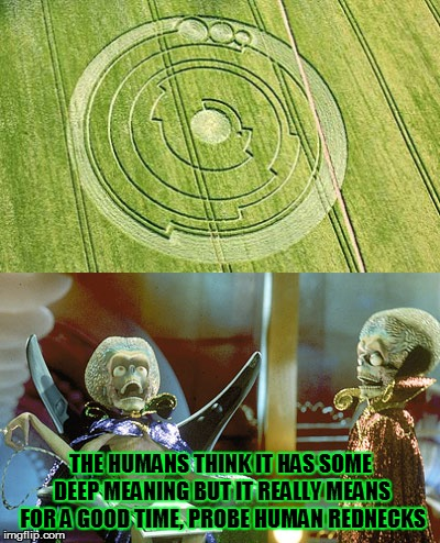 THE HUMANS THINK IT HAS SOME DEEP MEANING BUT IT REALLY MEANS FOR A GOOD TIME, PROBE HUMAN REDNECKS | image tagged in crop circles,scum bag aliens | made w/ Imgflip meme maker