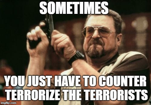 Am I The Only One Around Here Meme | SOMETIMES YOU JUST HAVE TO COUNTER TERRORIZE THE TERRORISTS | image tagged in memes,am i the only one around here | made w/ Imgflip meme maker