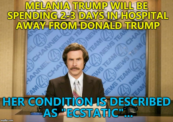 "I'm sure she'll miss him... :) | MELANIA TRUMP WILL BE SPENDING 2-3 DAYS IN HOSPITAL AWAY FROM DONALD TRUMP HER CONDITION IS DESCRIBED AS ""ECSTATIC""... 