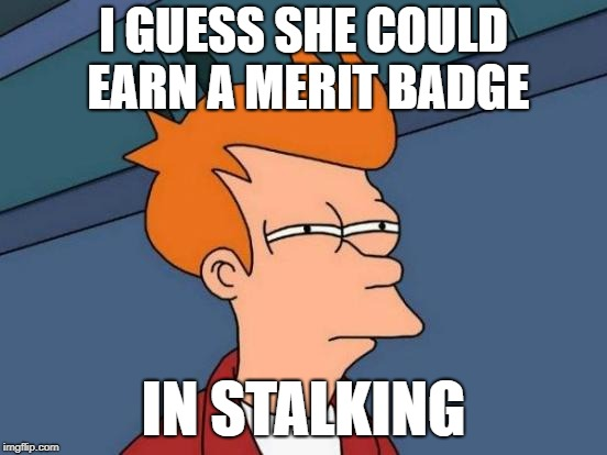 Futurama Fry Meme | I GUESS SHE COULD EARN A MERIT BADGE IN STALKING | image tagged in memes,futurama fry | made w/ Imgflip meme maker