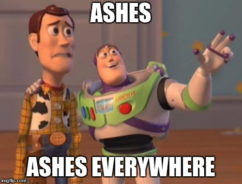 X, X Everywhere Meme | ASHES ASHES EVERYWHERE | image tagged in memes,x,x everywhere,x x everywhere | made w/ Imgflip meme maker