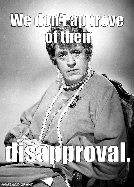 Alastair Sim as Dame | We don't approve of their disapproval. | image tagged in alastair sim as dame | made w/ Imgflip meme maker